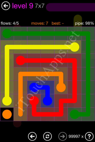 Flow Game 7x7 Mania Pack Level 9 Solution