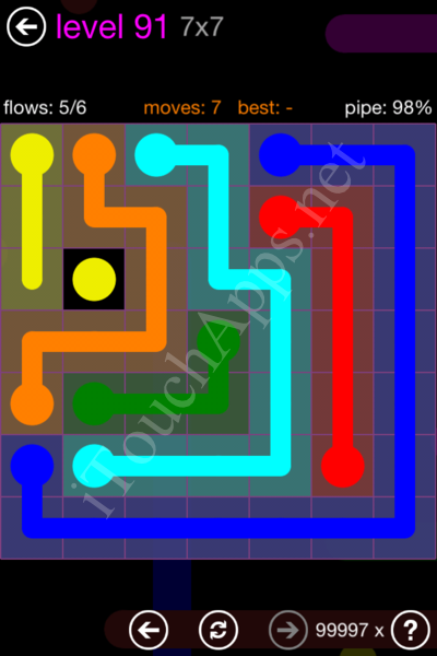 Flow Game 7x7 Mania Pack Level 91 Solution