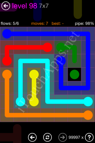 Flow Game 7x7 Mania Pack Level 98 Solution