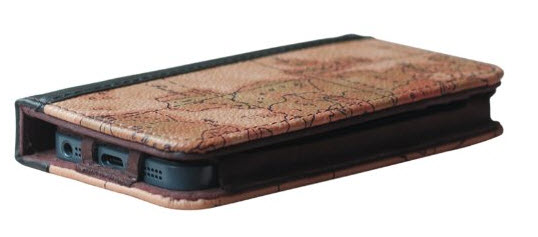 EC Technology 5 in 1 Retro Map Pattern Genuine Handmade Leather Case
